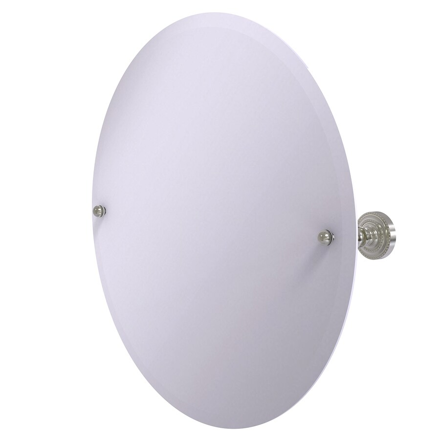 Allied Brass Dottingham 22-in W x 22-in H Round Tilting Frameless Bathroom Mirror with Satin Nickel Hardware and Beveled Edges