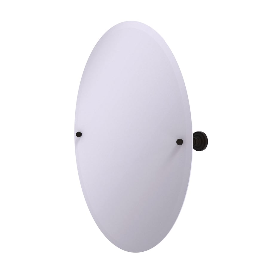 Allied Brass Dottingham 21-in x 29-in Oil-Rubbed bronze Oval Frameless Bathroom Mirror