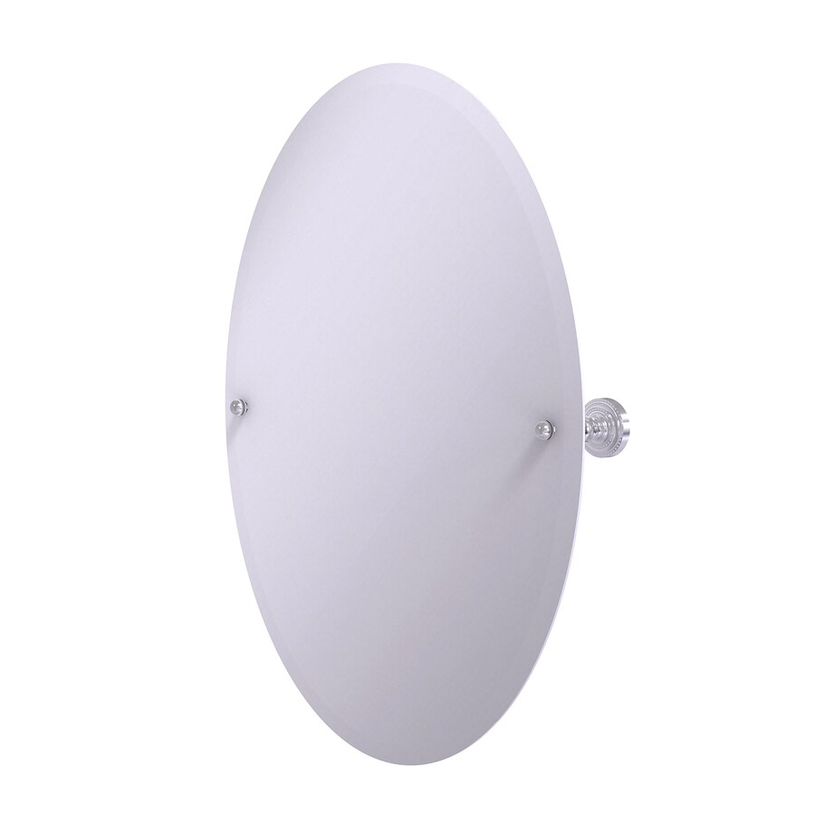 Allied Brass Dottingham 21-in x 29-in Satin chrome Oval Frameless Bathroom Mirror