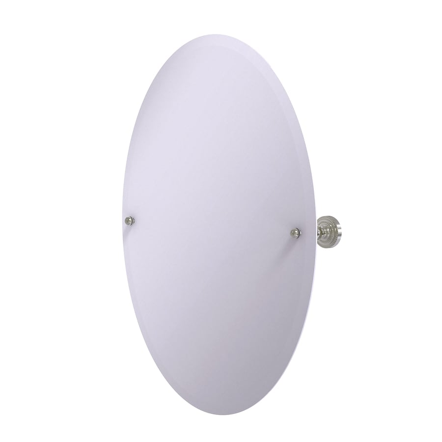 Allied Brass Dottingham 21-in x 29-in Satin nickel Oval Frameless Bathroom Mirror