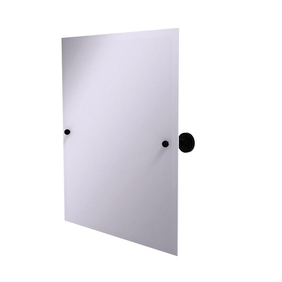Allied Brass Dottingham 21-in x 26-in Matte black Rectangular Frameless Bathroom Mirror