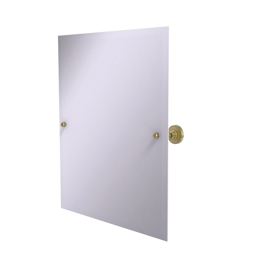 Allied Brass Dottingham 21-in W x 26-in H Rectangular Tilting Frameless Bathroom Mirror with Satin Brass Hardware and Beveled Edges