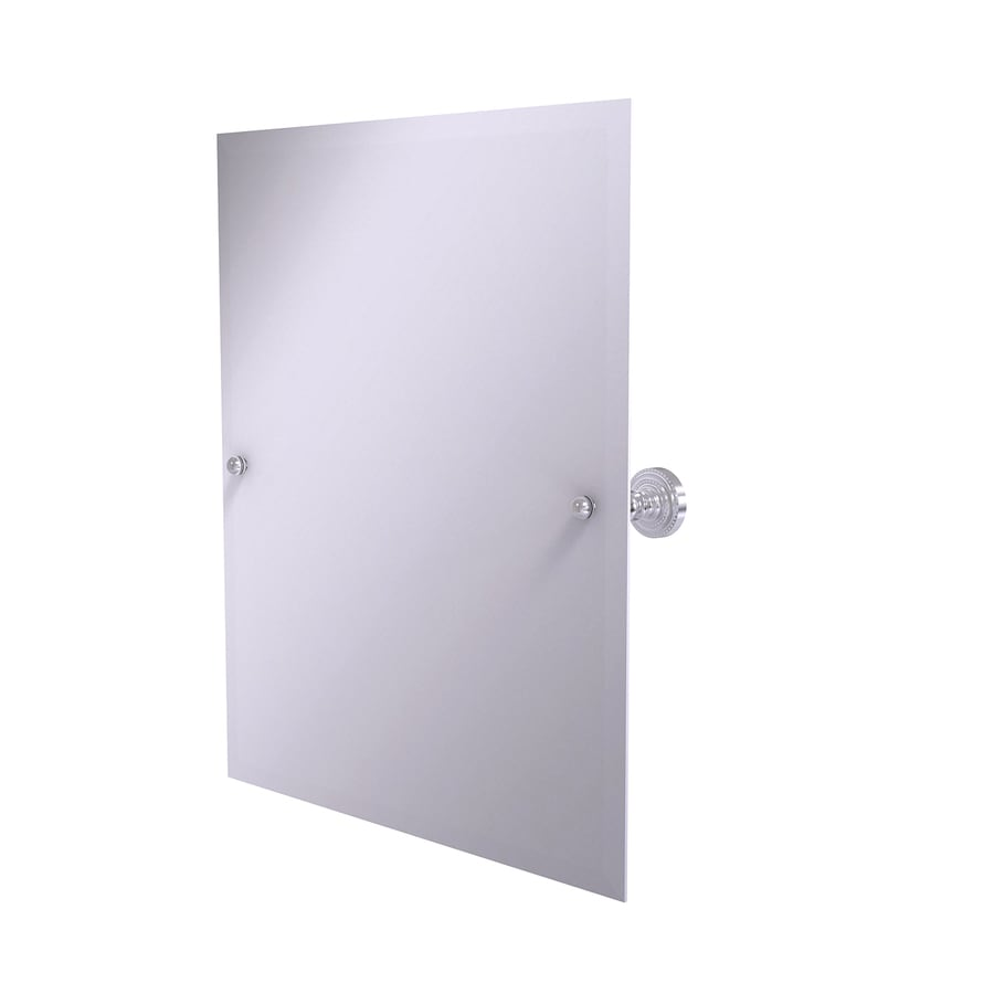 Allied Brass Dottingham 21-in W x 26-in H Rectangular Tilting Frameless Bathroom Mirror with Satin Chrome Hardware and Beveled Edges