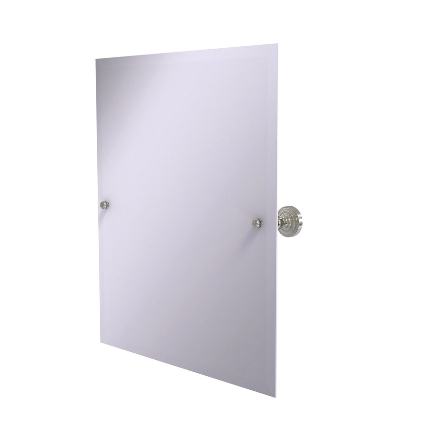 Allied Brass Dottingham 21-in x 26-in Satin nickel Rectangular Frameless Bathroom Mirror
