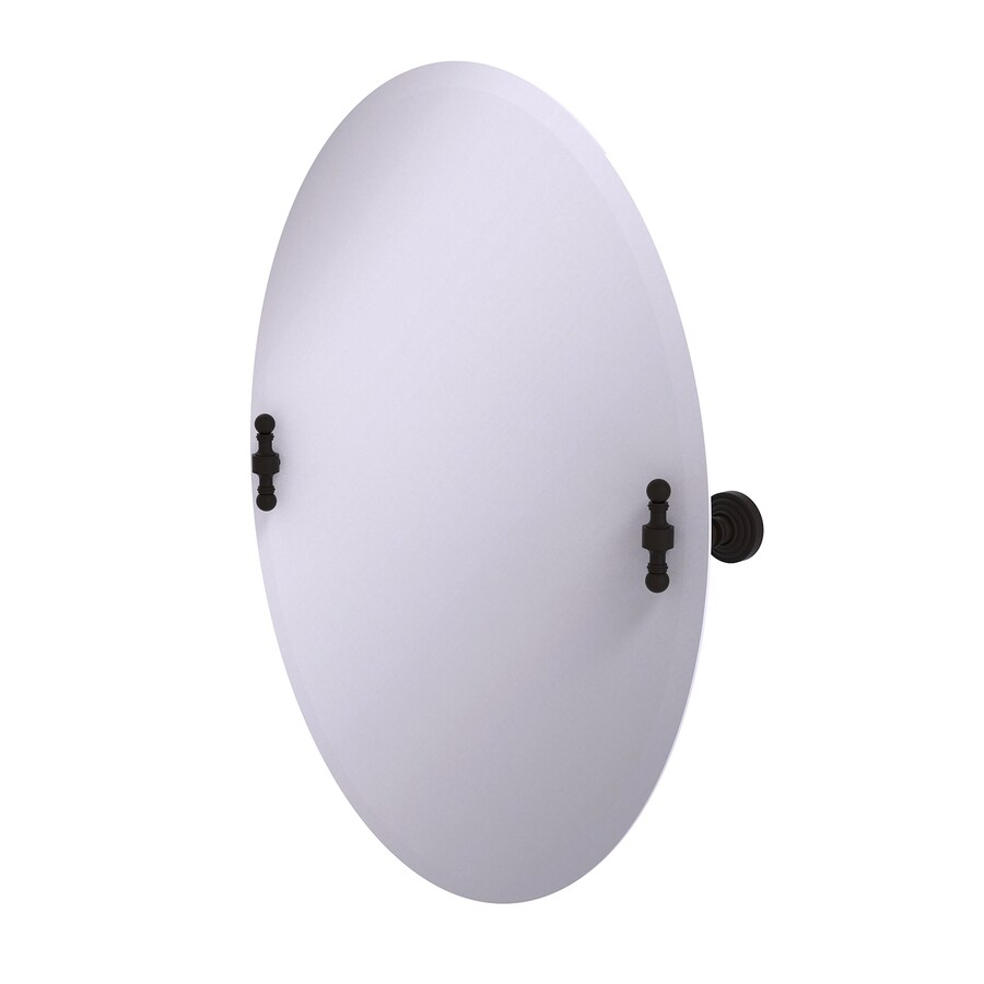 Allied Brass Retro Wave 21-in x 29-in Oil-Rubbed bronze Oval Frameless Bathroom Mirror