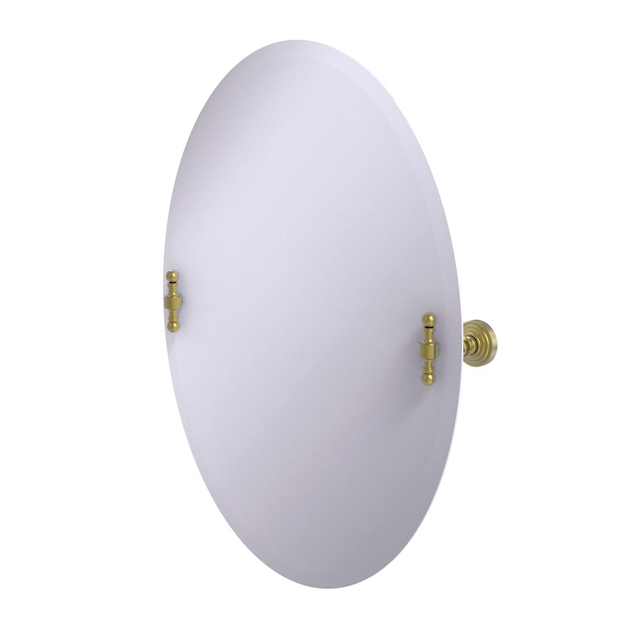 Allied Brass Retro-Wave 21-in W x 29-in H Oval Tilting Frameless Bathroom Mirror with Satin Brass Hardware and Beveled Edges