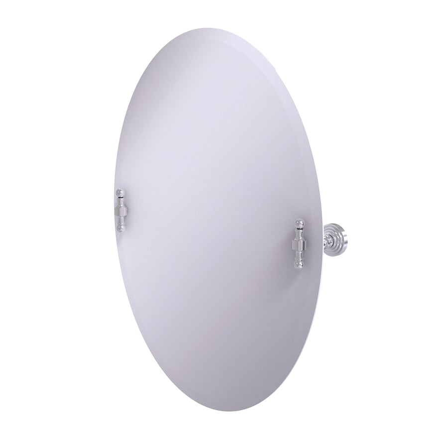 Allied Brass Retro-Wave 21-in W x 29-in H Oval Tilting Frameless Bathroom Mirror with Satin Chrome Hardware and Beveled Edges