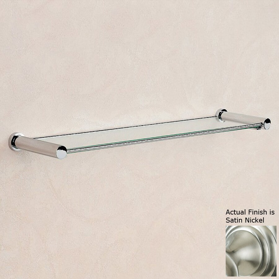 Nameeks Cylinder Satin Nickel Glass Bathroom Shelf