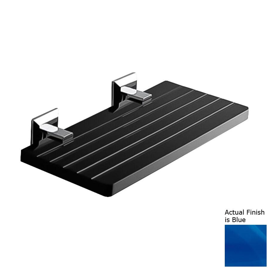 Nameeks Grip Chrome/Blue Plastic Bathroom Shelf
