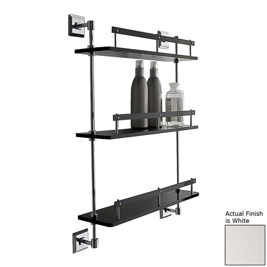 Nameeks Grip 3-Tier Chrome/White Plastic Bathroom Shelf