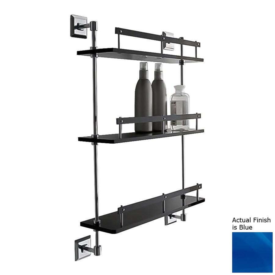 Nameeks Grip 3-Tier Chrome/Blue Plastic Bathroom Shelf