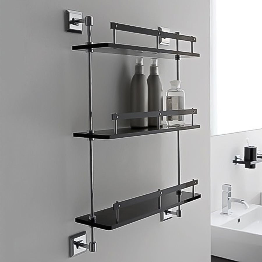 Nameeks Grip 3-Tier Chrome/Black Plastic Bathroom Shelf