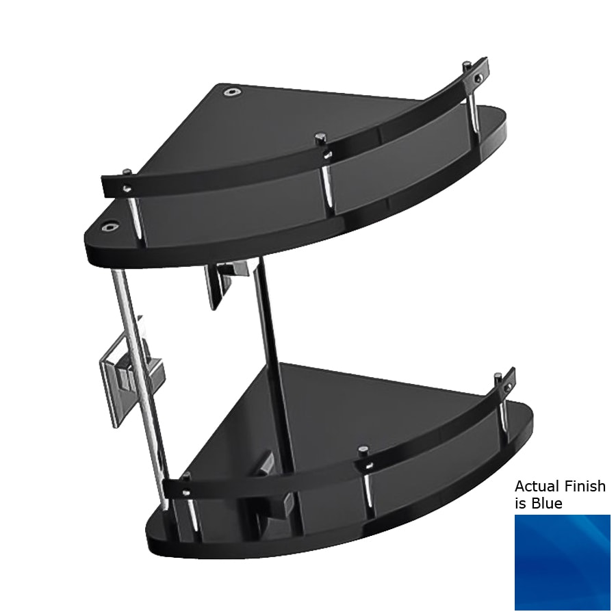 Nameeks Grip 2-Tier Chrome/Blue Plastic Bathroom Shelf
