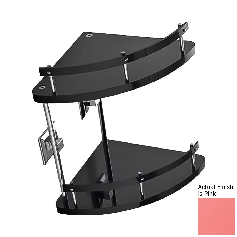 Nameeks Grip 2-Tier Chrome/Pink Plastic Bathroom Shelf