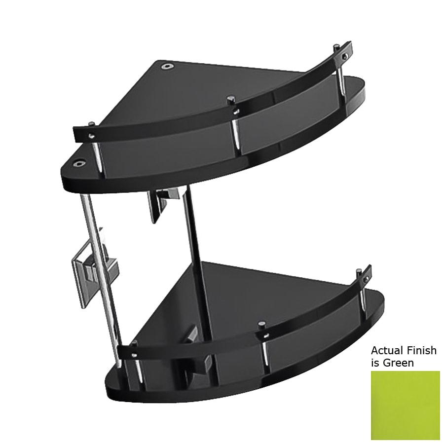 Nameeks Grip 2-Tier Chrome/Green Plastic Bathroom Shelf