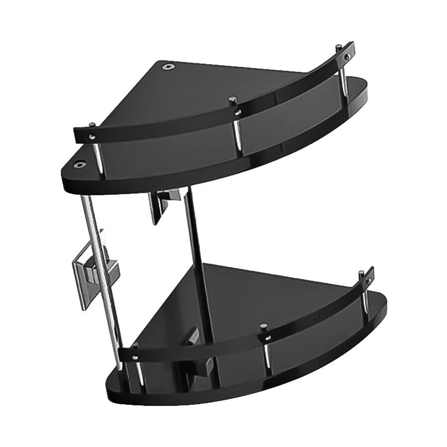 Nameeks Grip 2-Tier Chrome/Black Plastic Bathroom Shelf