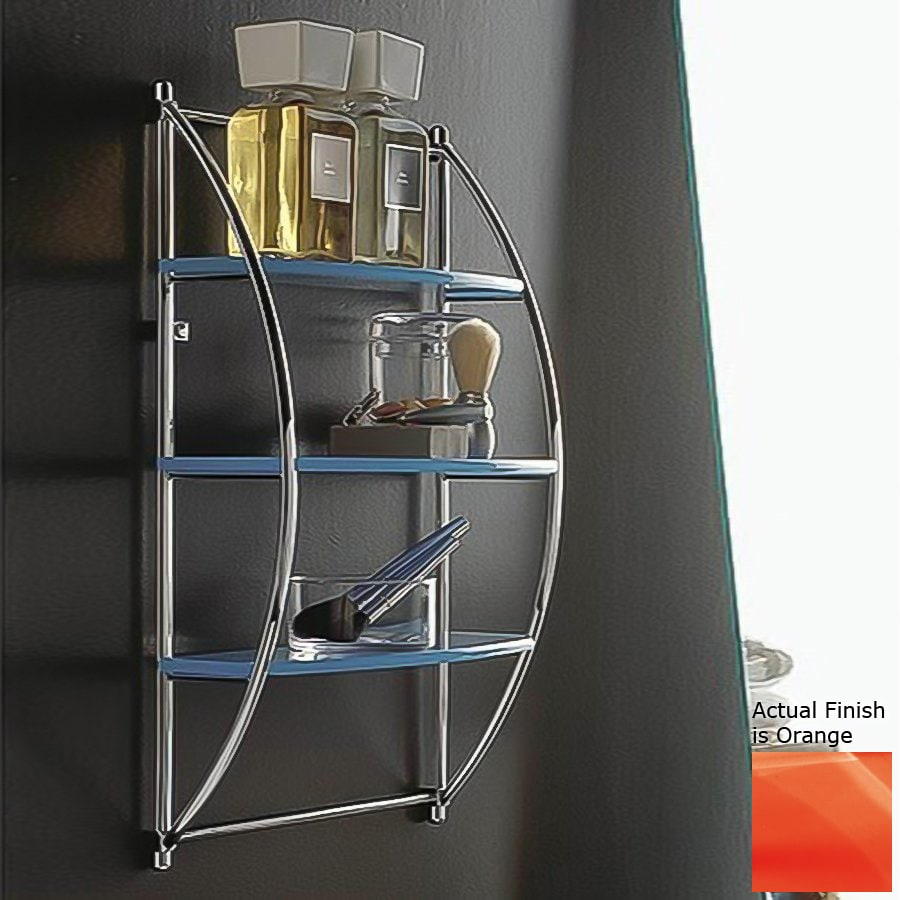 Nameeks Kor 3-Tier Chrome/Orange Plastic Bathroom Shelf
