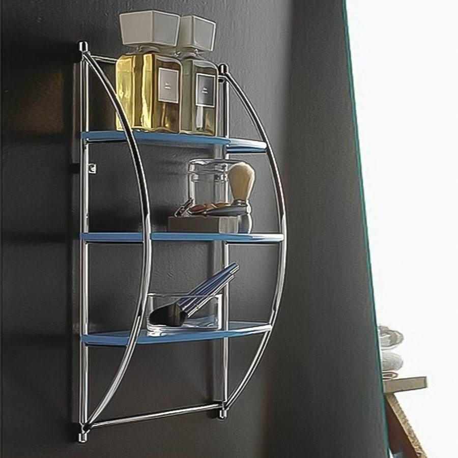 Nameeks Kor 3-Tier Chrome/Light Blue Plastic Bathroom Shelf