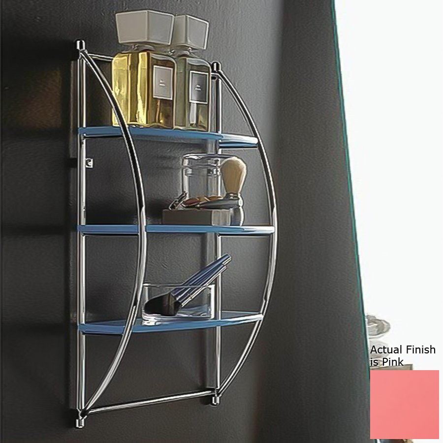 Nameeks Kor 3-Tier Chrome/Pink Plastic Bathroom Shelf
