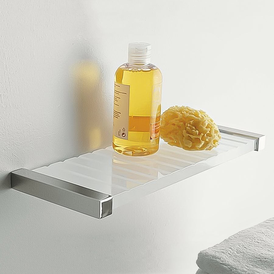Nameeks Eden Chrome/White Plastic Bathroom Shelf