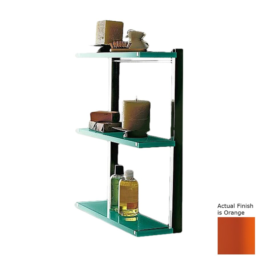 Nameeks Eden 3-Tier Chrome/Orange Plastic Bathroom Shelf
