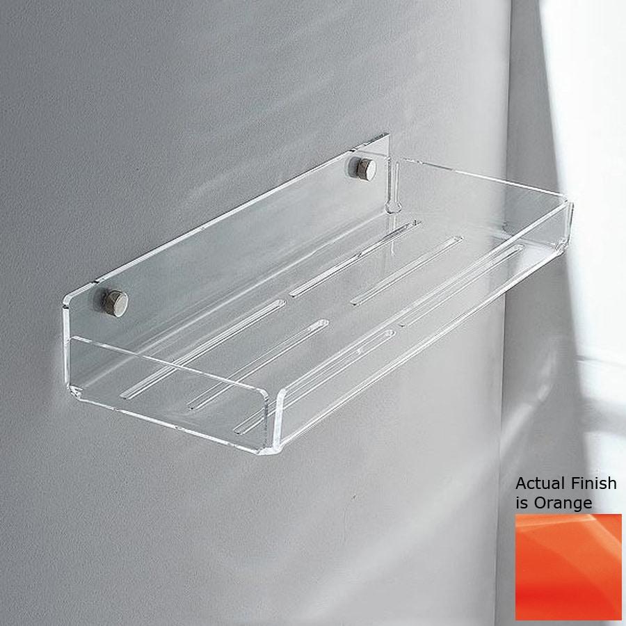 shop nameeks corner chrome orange plastic bathroom shelf. Black Bedroom Furniture Sets. Home Design Ideas