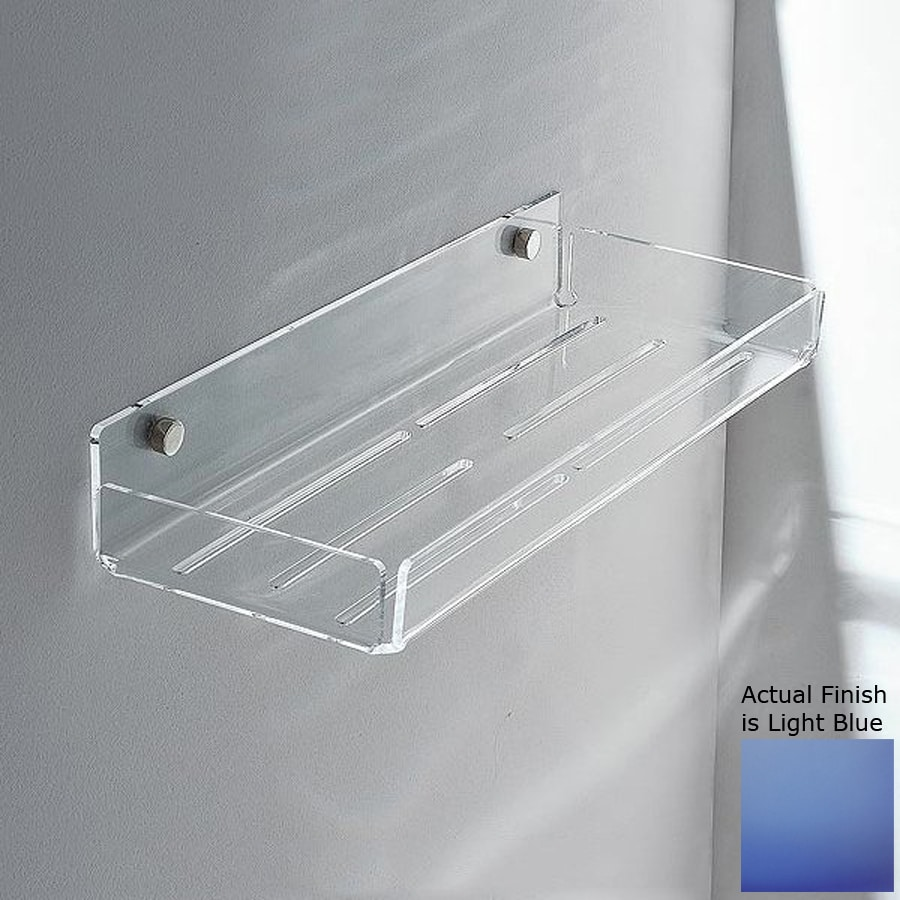 Nameeks Corner Chrome/Light Blue Plastic Bathroom Shelf