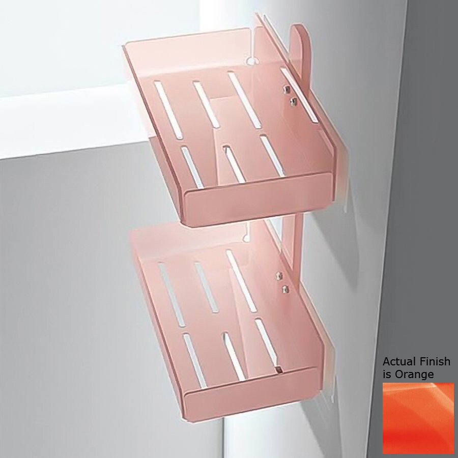 Nameeks Corner 2-Tier Chrome/Orange Plastic Bathroom Shelf