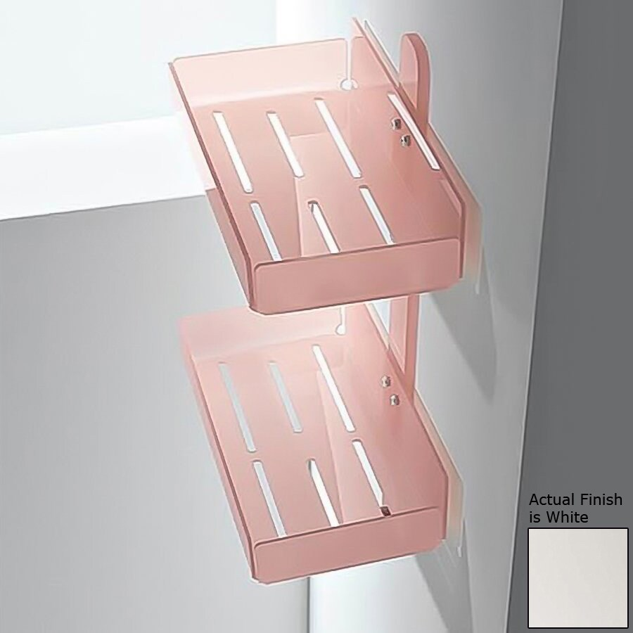 Nameeks Corner 2-Tier Chrome/White Plastic Bathroom Shelf