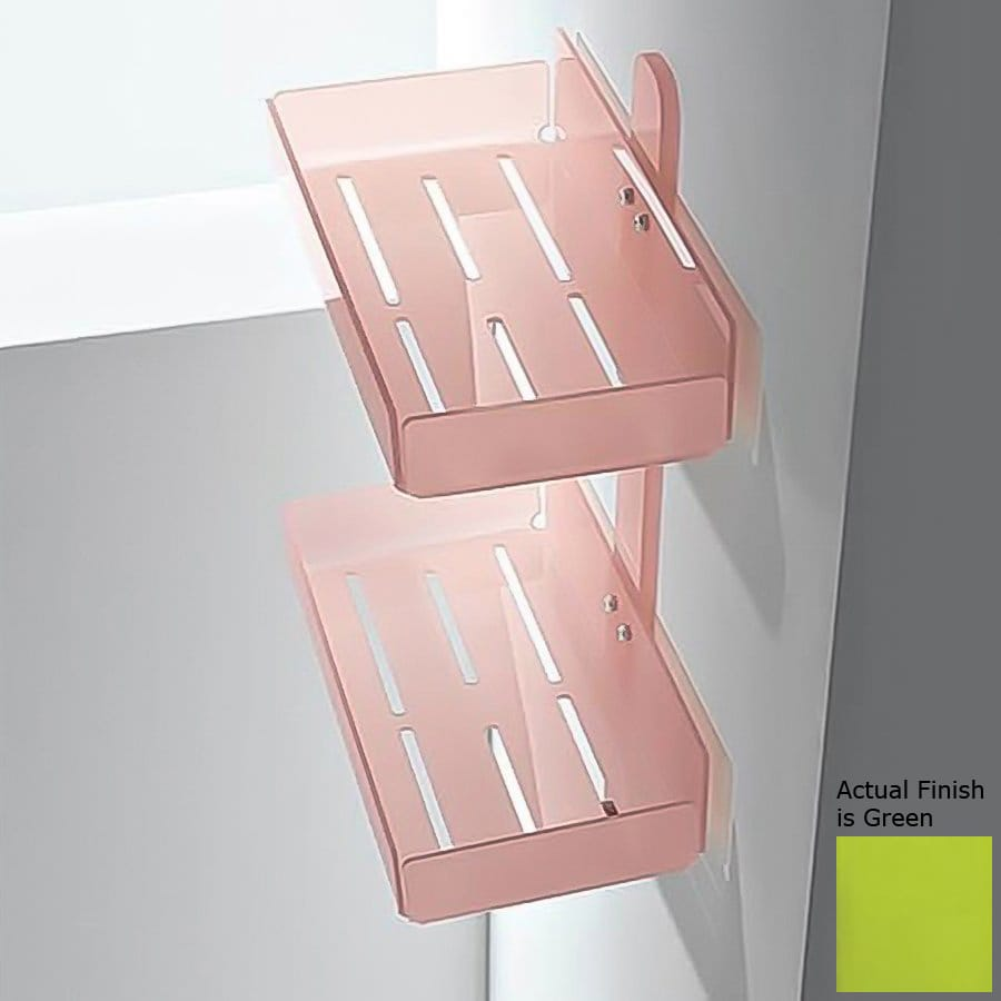 Nameeks Corner 2-Tier Chrome/Green Plastic Bathroom Shelf
