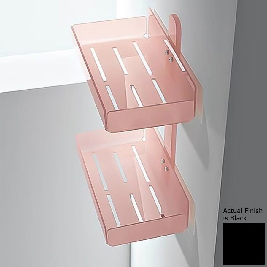 Nameeks Corner 2-Tier Chrome/Black Plastic Bathroom Shelf