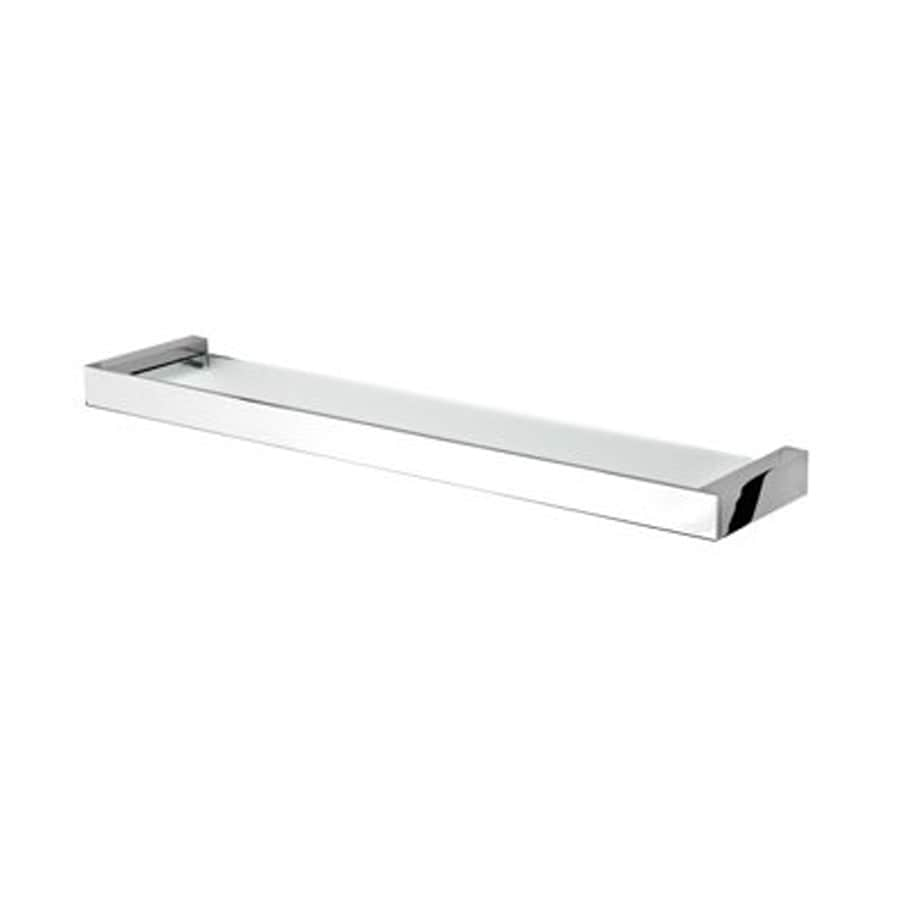 shop nameeks modern art chrome clear glass bathroom shelf at lowes com rh lowes com bathroom corner shelves chrome bathroom corner shelves chrome