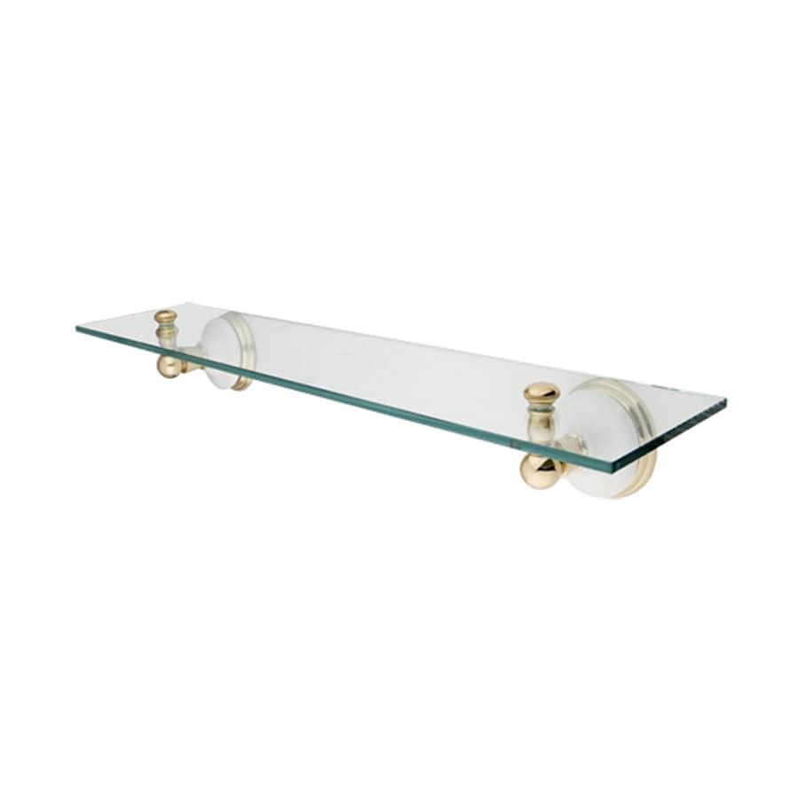 Shop Elements Of Design Victorian Polished Brass Glass Bathroom Shelf At