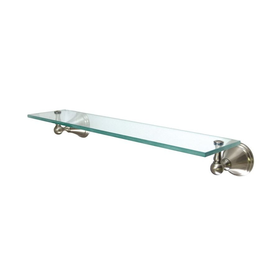 Elements of Design Governor Satin Nickel and Glass Bathroom Shelf