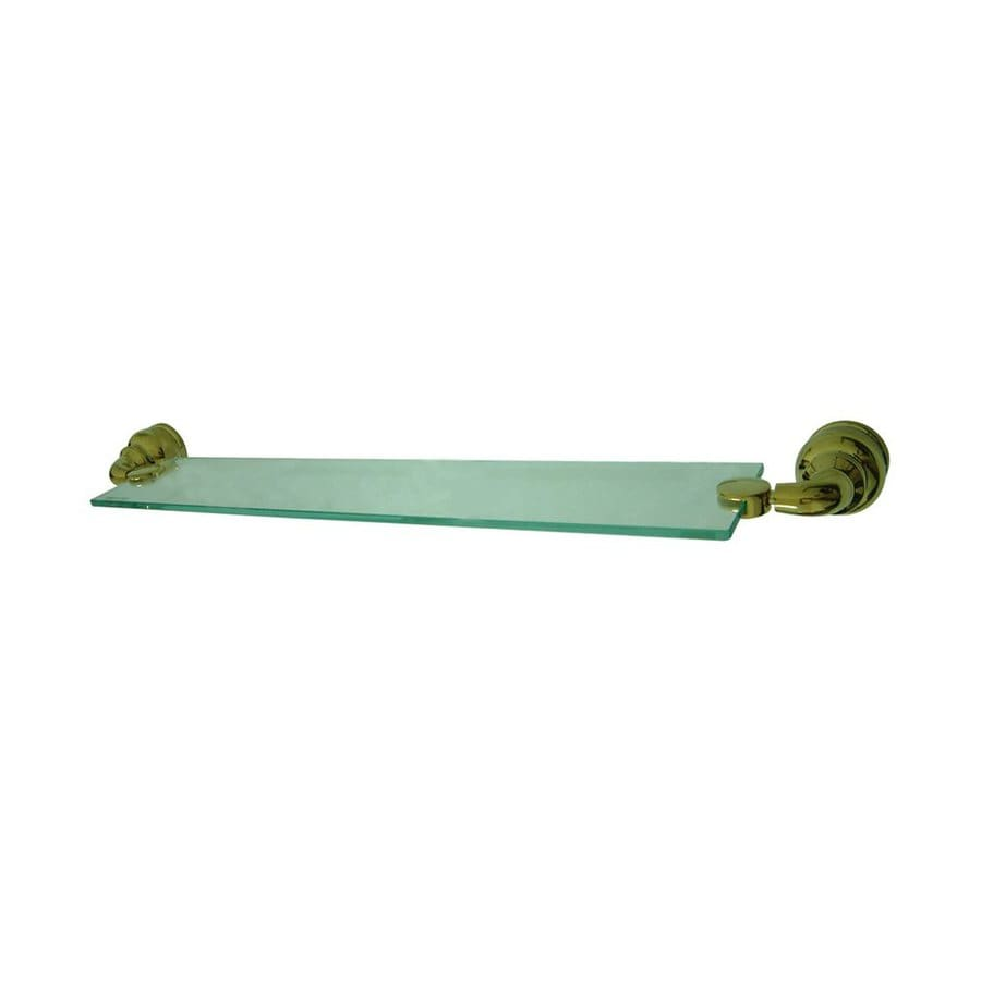 Elements of Design Magellan Polished Brass and Glass Bathroom Shelf