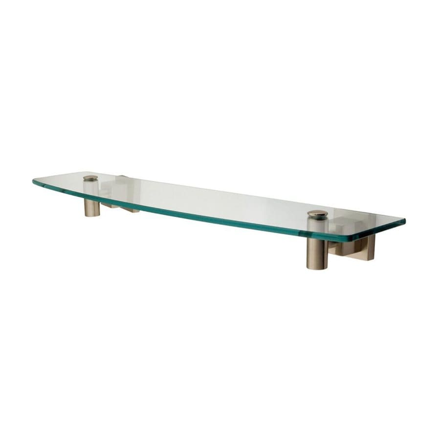 Elements of Design Claremont Satin Nickel and Glass Bathroom Shelf