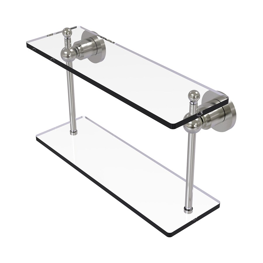 Allied Brass Astor Place 2-Tier Satin Nickel Brass Bathroom Shelf