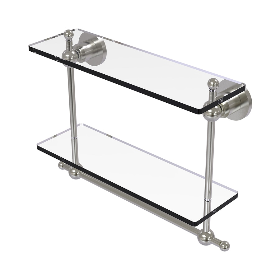 Allied Brass Astor Place 2-Tier Satin Nickel Brass Bathroom Shelf