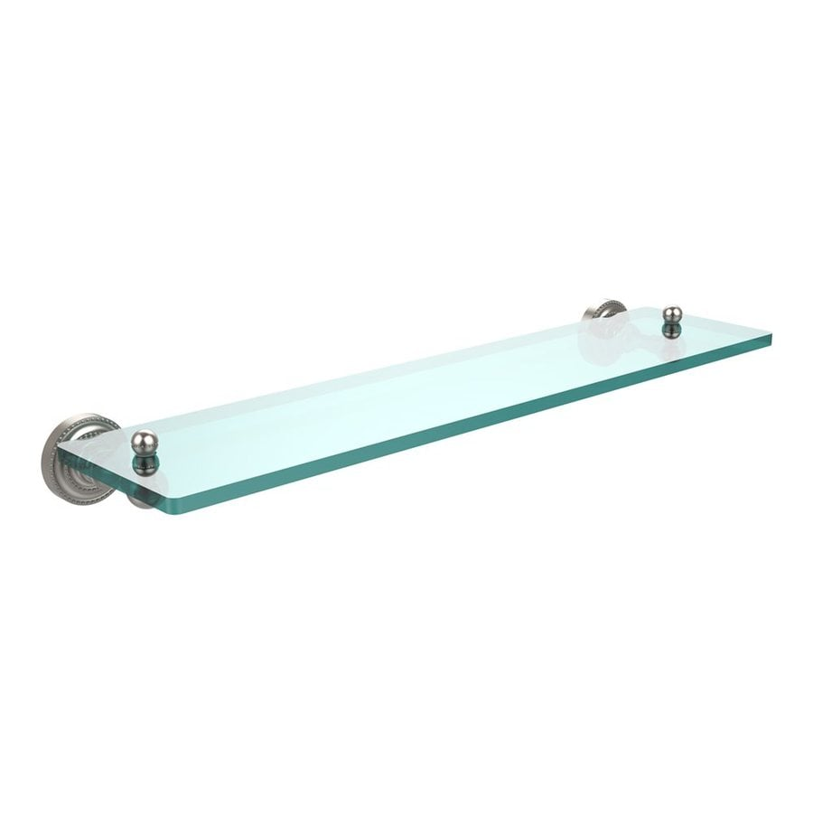 Allied Brass Dottingham Satin Nickel Glass Bathroom Shelf