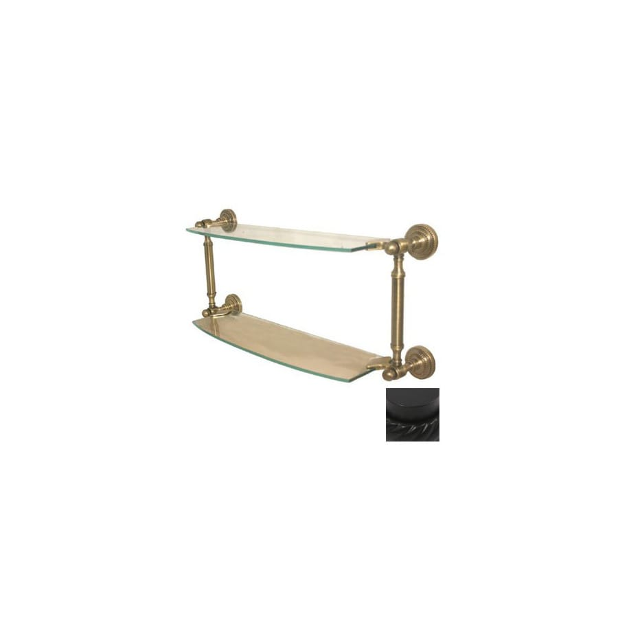 Allied Brass Dottingham 2-Tier Matte Black Brass Bathroom Shelf