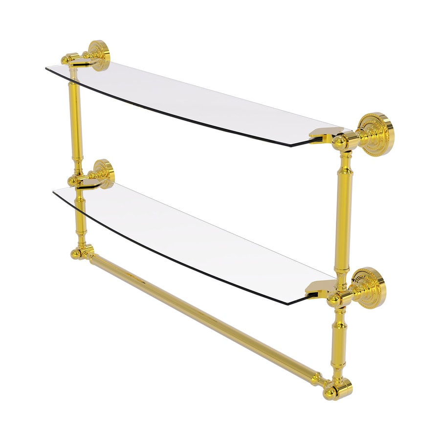 Allied Brass Dottingham 2-Tier Polished Brass Brass Bathroom Shelf