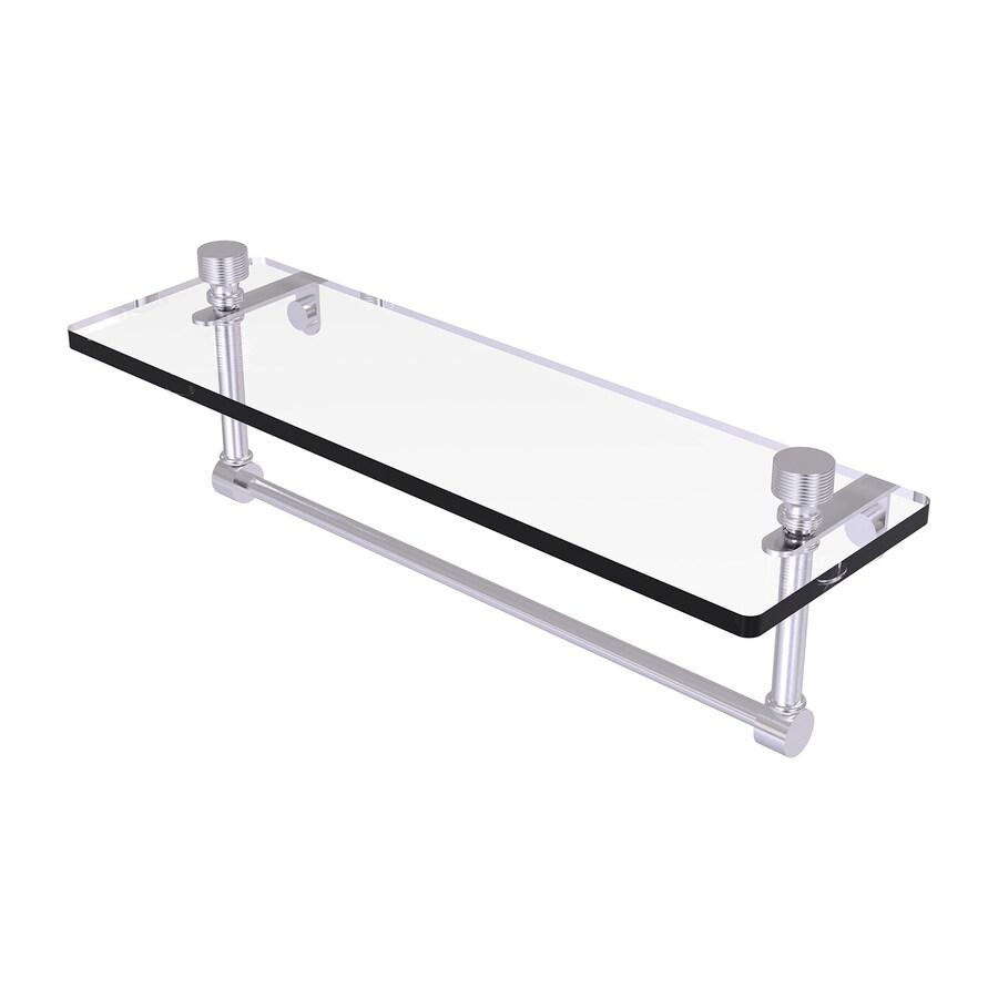 Allied Brass Foxtrot 1-Tier Satin Chrome Brass Bathroom Shelf