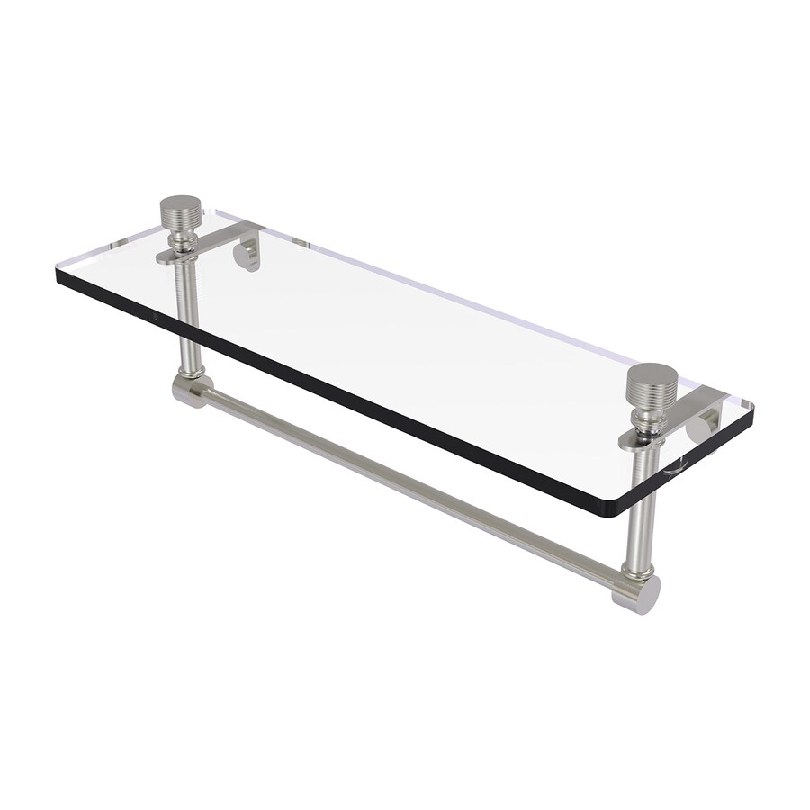 Allied Brass Foxtrot 1-Tier Satin Nickel Brass Bathroom Shelf