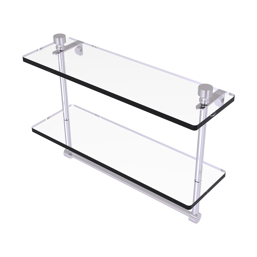 Allied Brass Foxtrot 2-Tier Satin Chrome Brass Bathroom Shelf