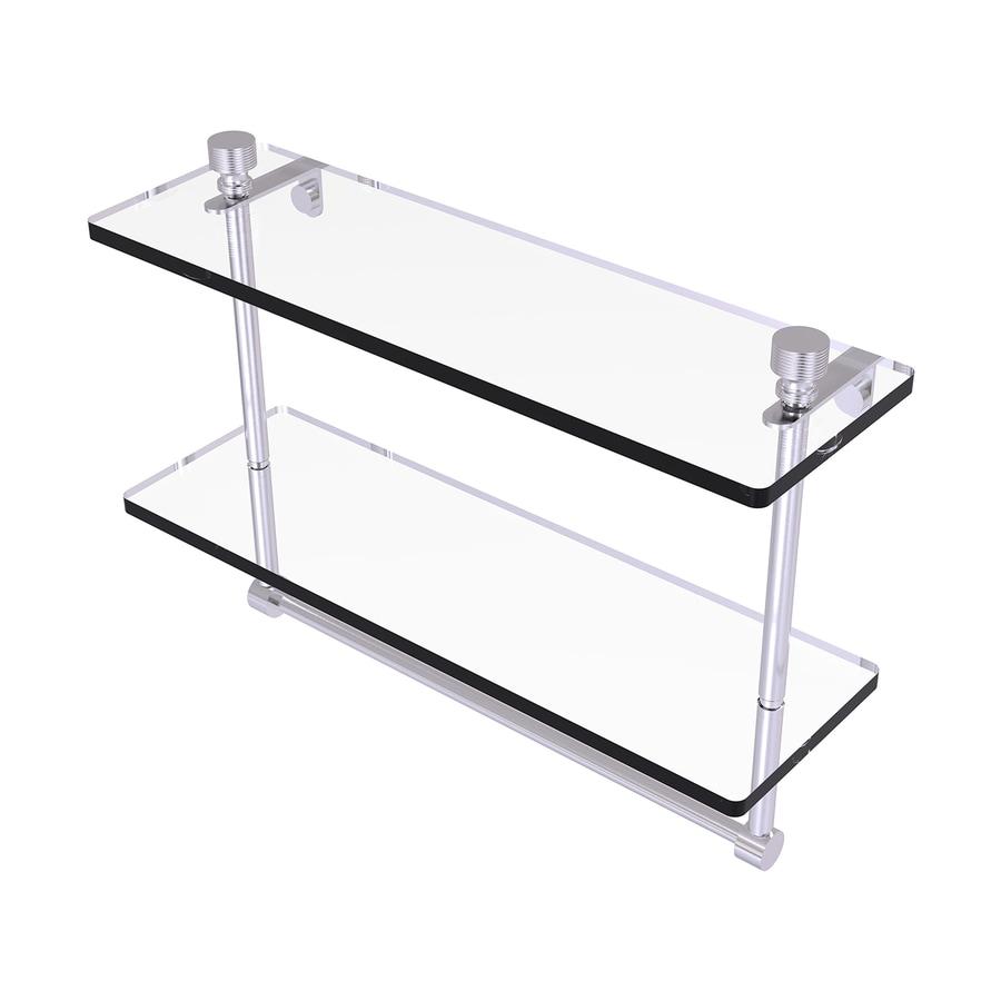 Allied Brass Foxtrot 2-Tier Satin Chrome Bathroom Shelf