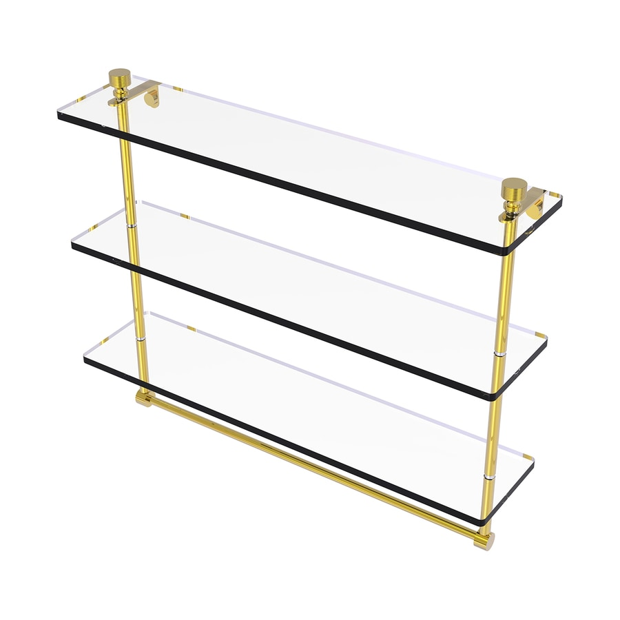Allied Brass Foxtrot 3-Tier Polished Brass Bathroom Shelf