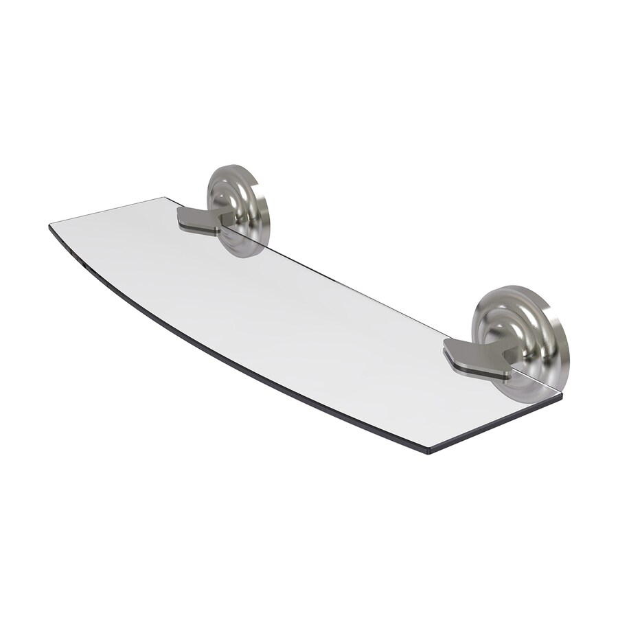 Allied Brass Que New 1-Tier Satin Nickel Brass Bathroom Shelf