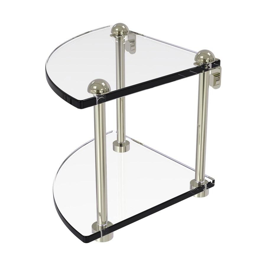 Allied Brass Prestige Regal 2-Tier Polished Nickel Brass Bathroom Shelf
