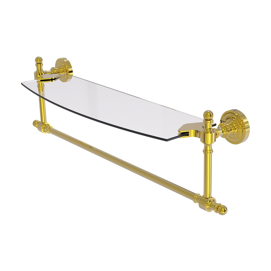 Allied Brass Retro Dot 1-Tier Polished Brass Bathroom Shelf