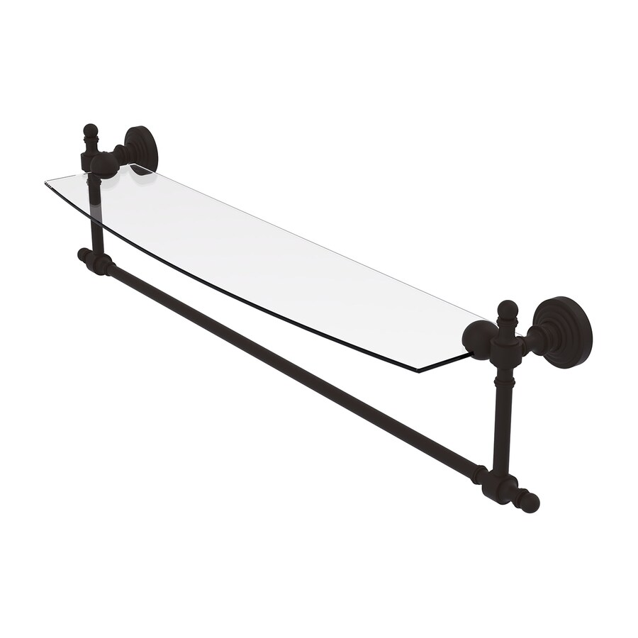 Shop Allied Brass Retro Wave 1 Tier Oil Rubbed Bronze Brass Bathroom Shelf At